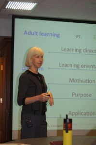 "Dr. Susan Hines leading the ""designing effective adult learning experiences"" workshop on October 27."