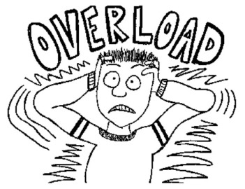 "image of student clasping head in stress, with word ""overload"" looming above head"